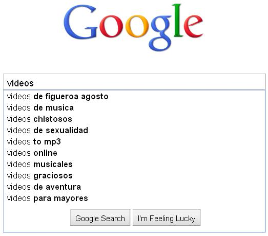 ... to decipher what la gente is searching for: funny videos, adult videos, ...